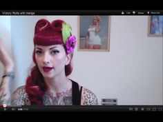 Vintage Hair Victory Roll Tutorial With Bangs by CHERRY DOLLFACE - YouTube
