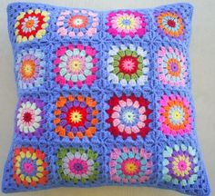 The hippie happy crochet granny square cushion by handmadebyria