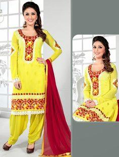 USD 59.72 Yellow Chiffon Punjabi Salwar with Suit 30662