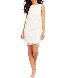 SL Fashions Organza Floral Trapeze Shift Dress #Dillards