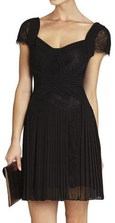 Black Pleated Lace-Inset Cocktail Dress <3 #lbd