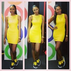 Yvonne Nelson In Yellow Outfit, With Sneakers.(Hit Or Miss?)