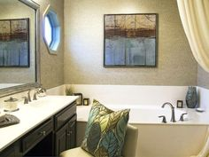 Dark wood, light granite Transitional Bathrooms from Kristen Pawlak on HGTV Black Cabinets Bathroom, Double Sink Bathroom, Modern Bathroom, Master Bathroom, Bathroom Ideas, Bathroom Art, Dream Bathrooms, Amazing Bathrooms, Basement Renovations