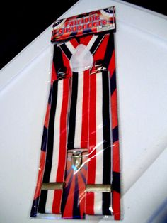 "Patriotic Red White and Blue Suspenders 1 1/2"" Wide #FORUM"