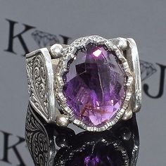 Silver Ring Amethyst Men Sterling 925 Mens Jewelry unique handcrafted