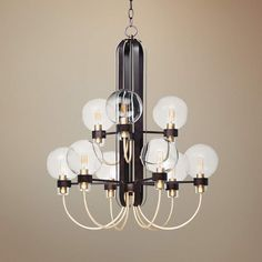 "Maxim Bauhaus 28""W Bronze and Satin Brass 9-Light Chandelier - #59J61 