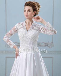 A-line Wedding Dresses V-neck Chapel Train Satin White 010010100464