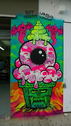 Buff Monster X Lamour ICE CREAM CONE OF DEATH. #buffmonster http://www.widewalls.ch/artist/buff-monster/