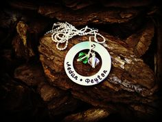 Hand Stamped Name Necklace with Birthstones by CharmletteDesigns, $28.00