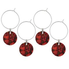 Red Berries and Strawberries Wine Glass Charm - red gifts color style cyo diy personalize unique