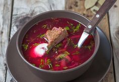 This easy Polish beet barszcz recipe is a sour soup made with beets. Traditionally, the tang comes from a kwas, but here lemon juice or vinegar is used.