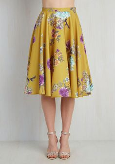 Ikebana for All Skirt in Floral. Shape, line, and form unfold fashionably as you drift past delicate flower displays in this lusciously smooth, mustard A-line skirt from Bea and Dot - a ModCloth exclusive! #yellow #wedding #modcloth