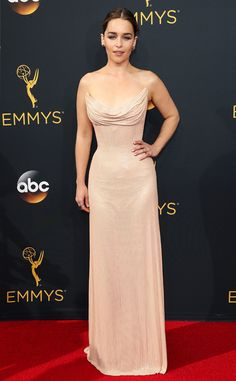 Emilia Clarke from 2016 Emmys Red Carpet Arrivals  In Atelier Versace
