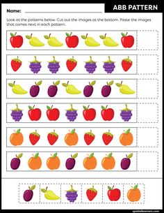 These FREE printable worksheets for kids are great for practicing spatial concepts! These patterns worksheets can be used as homework, bell-ringer activity, warm-up activity, or speech therapy work. Fun activity for your kindergarten or grade 1 students! Preschool Writing, Free Preschool, Preschool Printables, Preschool Activities, Kids Math Worksheets, Printable Worksheets, Free Printable, Pattern Worksheet, Math Patterns