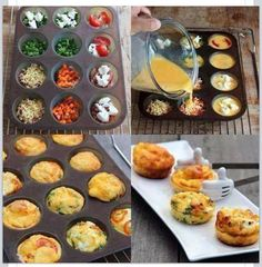 Omelet Muffins Simply spray the muffin pan, add in your favorite omelet fixings and cover with egg beaters or egg whites. Bake at 350 for about 30 minutes. Options to try: spinach and feta, salsa and cheddar.chicken and hot sauce.tomatoes and peppers. Mini Quiches, Mini Pies, Mini Tortillas, Tasty, Yummy Food, Spinach And Feta, Cooking Recipes, Healthy Recipes, Cooking Eggs