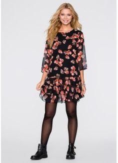 Шифоновое платье, RAINBOW, черный в цветочек