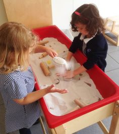 Using our fine motor skills, we flatten, pour and sift sand, in our sensory bin. Sensory Bins, Photo A Day, Fine Motor Skills, Plastic Cutting Board, Motor Skills, Sensory Tubs, Fine Motor, Sensory Boxes