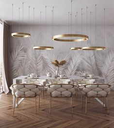 of the day: White + Gold dining room. Love the mesmerizing lighting and color s… of the day: White + Gold dining room. Love the mesmerizing lighting and color scheme! Luxury Dining Room, Dining Room Design, Room Interior, Home Interior Design, Luxury Interior, Deco Design, Design Case, Living Room Decor, Living Rooms