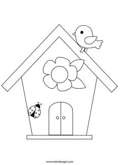 isegni-primavera-casetta-uccelli Bird Template, Applique Templates, Applique Patterns, Applique Designs, Art Drawings For Kids, Drawing For Kids, Easy Drawings, Spring Coloring Pages, Colouring Pages