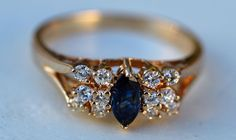 ESTATE 14K YELLOW GOLD BLUE SAPPHIRE & DIAMOND RING-SIZE 6.75 585-.50CT TGW MDJ #MDJ #SolitairewithAccents