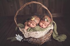 Newborn Fine Art Photos | Newborn Photographer | Meghan Vail Photography | Orlando Quality Newborn Photographer | Twin Girls | Two Babies in a Basket | Green Girls Picture