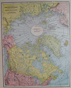 Antique North Pole Map of the Arctic POLAR Regions by plaindealing