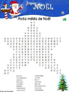 One activity a day before Christmas - Shrimp School, Education Christmas Crossword, Christmas Worksheets, Christmas Word Search, Christmas Words, French Worksheets, Days Before Christmas, French Christmas, French Classroom, Theme Noel