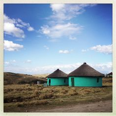 Mdumbi, Eastern Cape - There's that colour again. West Africa, South Africa, Airport Theme, African Hut, African Fashion Traditional, Round Building, Landscape Paintings, Landscapes, Unusual Homes