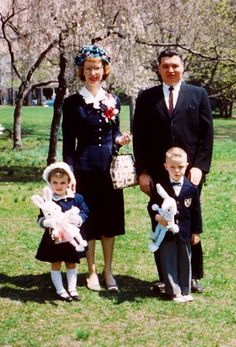 Family ready for church Easter Sunday morning.  Vintage; good ol' days.