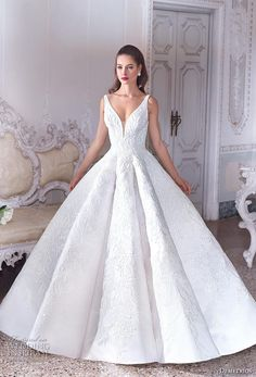 Platinum by Demetrios - Wedding Dress Style - ESME : Luxurious lace adorns this glamorous Tulle Ball gown with dramatic V-neckline and low back. The skirt features subtle pleats and flows into a semi-Cathedral train. Shown: Blush Stunning Wedding Dresses, Wedding Dresses Photos, Wedding Dress Trends, Wedding Dress Styles, Bridal Dresses, Beautiful Dresses, Wedding Gowns, Elegant Wedding, Lace Wedding