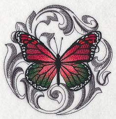 Christmas Butterfly with Baroque Background