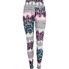 Pink multi animal print leggings - leggings - trousers / leggings - women