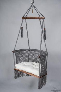Macrame Hanging Chair in Grey. - Macrame Hanging Chair in Grey. - Leah Gessel Macrame Hanging Chair in Grey. Hanging Chair in Macrame in Grey - Macrame Hanging Chair, Macrame Chairs, Diy Hanging, Hanging Chairs, Hanging Beds, Hanging Decorations, Outdoor Hanging Chair, Hanging Chair With Stand, Hammock Chair