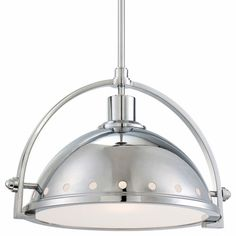 One-Light Pendant in Chrome with Metal Shade