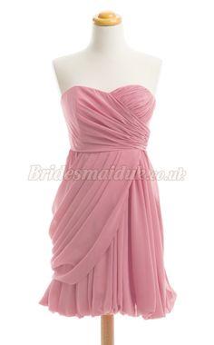 Sexy Short Chiffon Bridesmaid Dress  in pink Bridesmaid Dresses