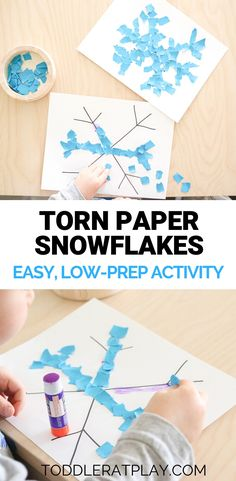 Easy, low-prep winter craft for toddlers and preschoolers. Great as a classroom art craft! This easy Torn Paper Snowflake craft is perfect for all ages and is super quick to set-up too! Toddlers And Preschoolers, Winter Crafts For Toddlers, Halloween Crafts For Kids, Winter Kids, Craft Activities For Kids, Christmas Crafts For Kids, Toddler Winter Activities, Winter Preschool Crafts, Art For Toddlers