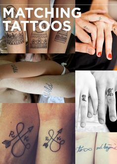 Matching Tattoos The 13 Kinds Of Tattoos We All Wanted In 2013 Trendy Tattoos, Love Tattoos, Beautiful Tattoos, Body Art Tattoos, Small Tattoos, Wrist Tattoos, Side Finger Tattoos, Matching Tattoos, To Infinity And Beyond