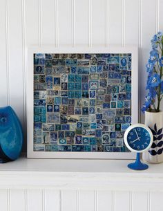 Blue Stamp Collection in a Gallery Frame by Sweet Paul - as a former stamp collector I love this idea. Old Stamps, Vintage Stamps, Art Postal, Sweet Paul, Postage Stamp Art, Creation Deco, Idee Diy, Mail Art, Stamp Collecting