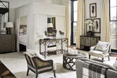 Set in a period townhouse; the theme revolves around dark décor, with jewel colours bringing warmth to the moody, atmospheric setting. Dream Bedroom, Home Decor Bedroom, Bedroom 2018, Living Room Pillows, Living Rooms, Gray Interior, Townhouse, Beautiful Homes, House Design