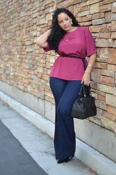 Dark pink blouse with dark blue pants... Simple; but, pretty ensemble. :-)