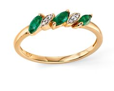 9ct Yellow Elements Gold Emerald and Diamond Marquise Ring