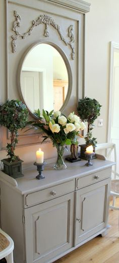 French Grey Dresser & Mirror, Topiaries, Flowers & Candles = Romantic!