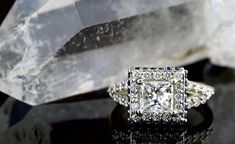 An engagement ring cut meant for royalty, propose with a princess cut engagement ring! Learn more about this popular, square engagement ring cut here. Square Engagement Rings, Princess Cut Engagement Rings, Perfect Engagement Ring, Engagement Ring Cuts, Designer Engagement Rings, Wedding Rings, Stone, Outfits, Jewelry