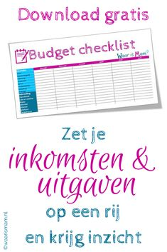 Om je financiën op orde te houden. #Gratisdownload. #Budgetplanner @waarismam