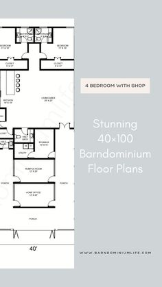 Barndominium's floor plan is one of the most important things one will come up with in the design process. Without having the right floor plan, none will be able to get everything they want from their barndo and this can defeat the whole purpose of the project. In this attached article, we have put together some amazing examples of a 40×100 barndominium floor plan to help get you inspired. You might even find the perfect floor plan here and from there on out, your work is done! Floor Plan 4 Bedroom, Barndominium Floor Plans, Open Concept, Kitchen Living, Design Process, Home Office, Flooring, How To Plan, Projects