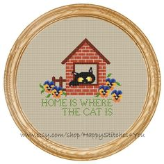 Cross Stitch Pattern PDF cat home is where di HappyStitches4You