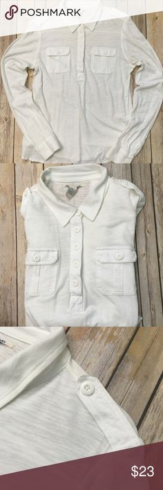 Lucky Brand Long Sleeve Lucky Brand Long Sleeve - 100% Cotton! Collared with buttons down the chest, on sleeves and shoulders. Light & comfy abs would be great with jeans and boots! Like-new condition! Lucky Brand Tops Tees - Long Sleeve