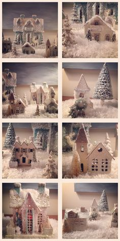I have been collecting these charming paper houses over the last few years  and set up a little village every Christmas.  I found most of them at a  local shop, but know you can find them online as well.  Instagram seemed to  be the best way for me to capture them this year and I decided to make a  little collage for you.  I simply adore them!  Do you have a Christmas  village at your house?