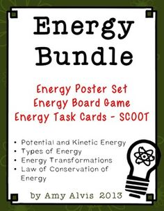 SAVE $ when you purchase the Energy Poster Set, Energy Board Game and Energy Task Cards as a bundle.