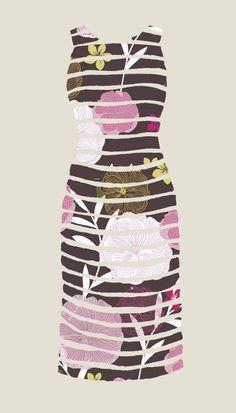 Stripe Floral Dress Illustration